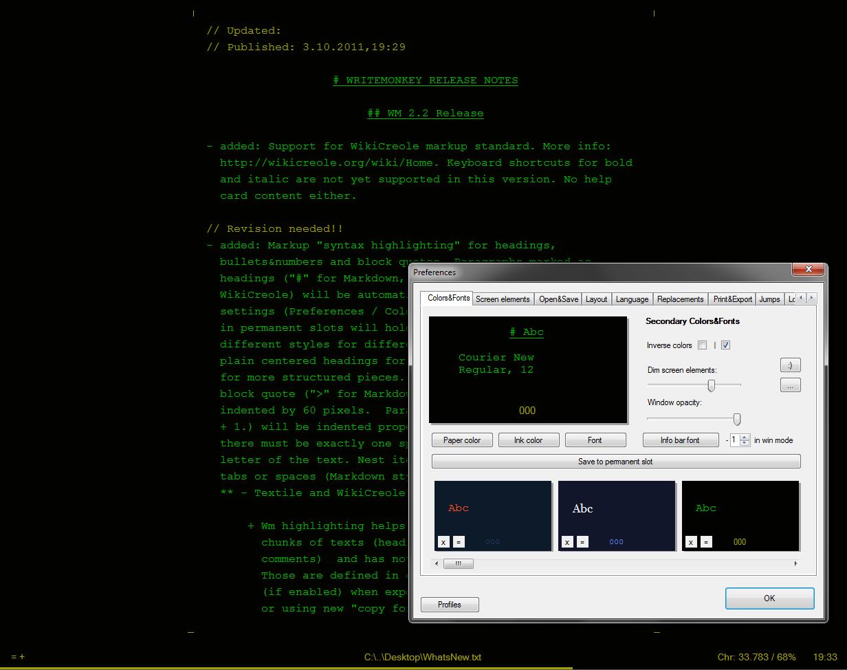 WriteMonkey screenshot